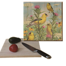 "Goldfinch Cutting Board ""Golden Glories"" | Wood Graphixs | CBGG1212"