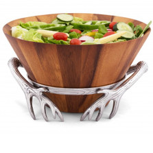 Antler Wood Salad Bowl | Arthur Court Designs | 218A11-1