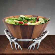 Antler Wood Salad Bowl | Arthur Court Designs | 218A11