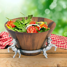 Horse Wood Salad Bowl | Arthur Court Designs | 218E11