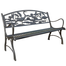 Heron Cast Iron Garden Bench | Painted Sky | PB-HER-100BR