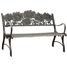 Sunflower Cast Iron Garden Bench | Painted Sky | PB-SFL-100BR