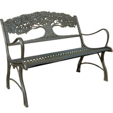 Tree Cast Iron Loveseat Garden Bench | Painted Sky | PBLS-TR
