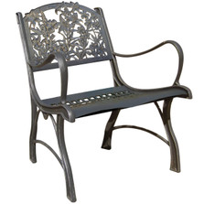 Hummingbird and Wildflower Cast Iron Chair   Painted Sky   PC-WFL