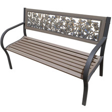 Wildflower 2-Tone Tube Steel Outdoor Bench | Painted Sky | TSB2-WFL