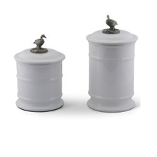 Duck Stoneware Canister Set of 2 | Vagabond House | B273DK-B263DK-1