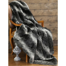 "Wolf Faux Fur Throw ""Black Wolf"" 