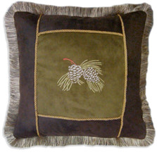 Pine Cone Embroidered Throw Pillow | Carstens | JB4034