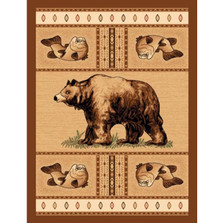 Bear Fish Lodge Area Rug | American Cover | L-360