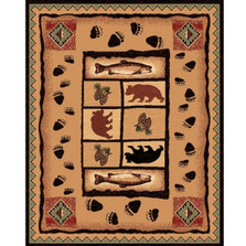 Pine Cone Bear Fish Lodge Area Rug | Persian Weavers | L-368