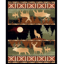 Howling Wolf and Elk Lodge Area Rug | Persian Weavers | L-382