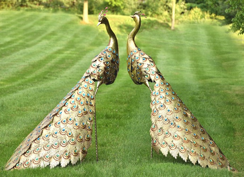 Golden Peacock Iron Garden Statue Set Of 2 Zaer International Zr140243