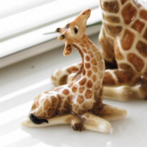 SPI Home Giraffe Mama and Baby Brass Sculpture Africa Animal Safari Wildlife