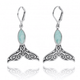 Whale Tail Sterling Silver Larimar Earrings | Beyond Silver Jewelry | NP11319-LAR