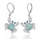 Crab Sterling Silver Larimar Pendant Earrings | Beyond Silver Jewelry | NEA2794-LAR