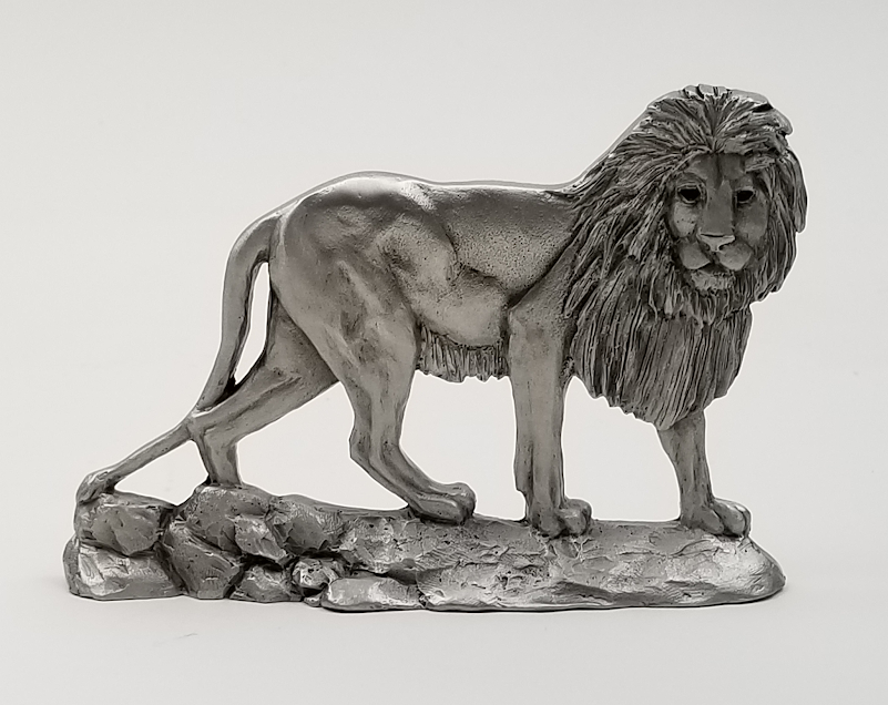 African Lion Pewter Shelf Accent Sculpture Schumann Pewter Sculpture