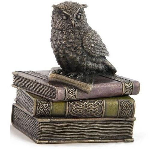 Owl Trinket Box Owl On Books Jewelry Box Decor