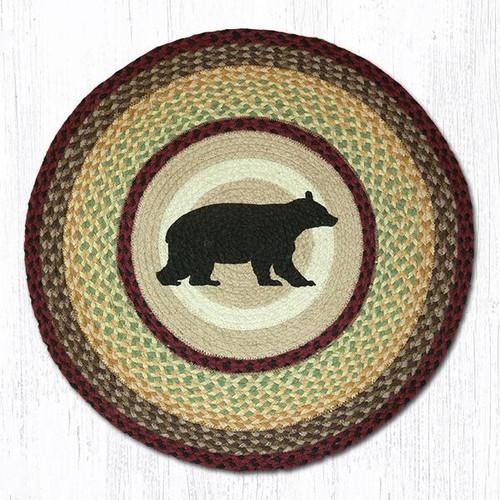 Cabin Bear Round Braided Rug Area Rug Jute