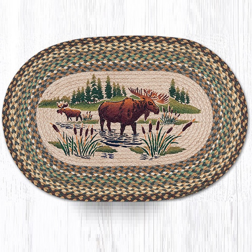 Moose Wading Oval Braided Rug Capitol Earth Rugs Jute