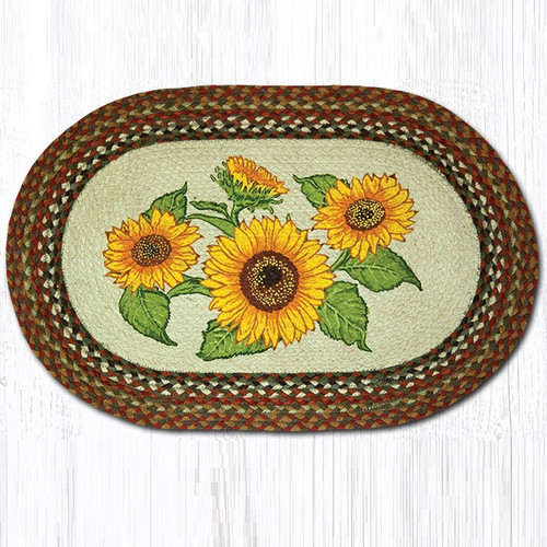 Sunflowers Oval Braided Rug Capitol Earth Rugs Jute