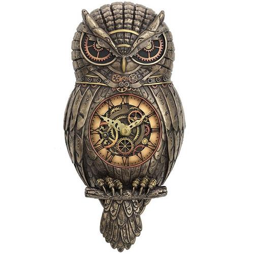 Owl Wall Pendulum Clock Steampunk Unicorn Studios