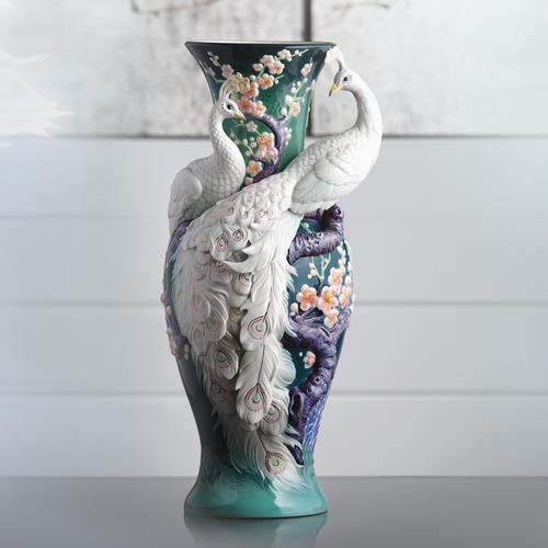 Limited Edition White Peacock Porcelain Vase Franz Porcelain Fz03471