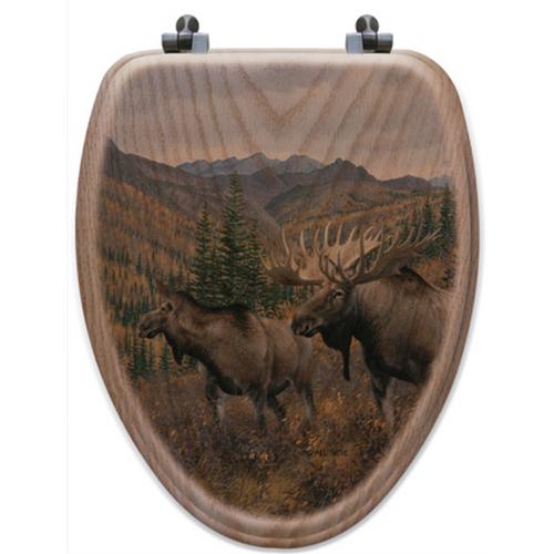 Moose Oak Wood Elongated Toilet Seat Ridge Wood Graphixs