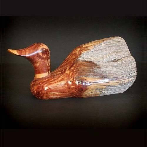 Fence Post Duck Sculpture Real Wood Duck Decoy Rocky