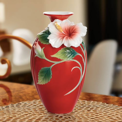 Hibiscus Small Vase Franz Collection Porcelain