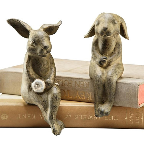 Bunny Shelf Sitters Figurine Garden Rabbit Gift Spi