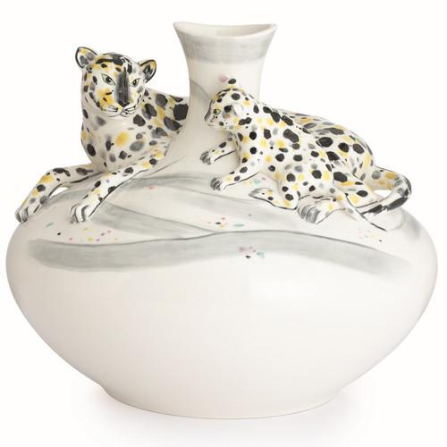 Leopard Vase Sculptured Porcelain Franz Porcelain