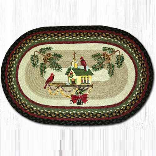 Cardinal Christmas Birdhouse Oval Patch Rug