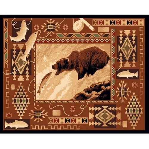 Bear Fishing Lodge Area Rug American Cover Persian Weavers
