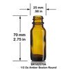 1/2 Ounce Amber Boston Round Bottle - 25 x 70 mm