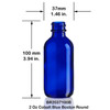 2 Ounce Cobalt Blue Boston Round Bottle