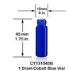 1 Dram Cobalt Blue Glass Vial - 15 x 45 mm
