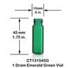 1 Dram Emerald Green Glass Vial - 15 x 45 mm