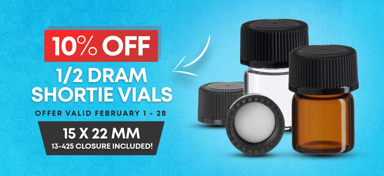 1/2 Dram Shortie Vials - 10% Off in Feb