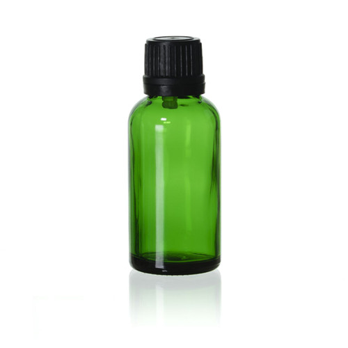 30 ml Green Euro Bottle w/ Black Cap