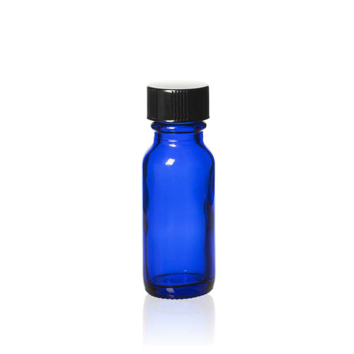 1/2 Ounce Cobalt Blue Boston Round Bottles w/ Cap