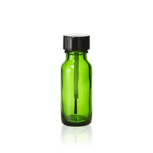 1/2 Ounce Emerald Green Boston Round Bottles w/ Brush Cap