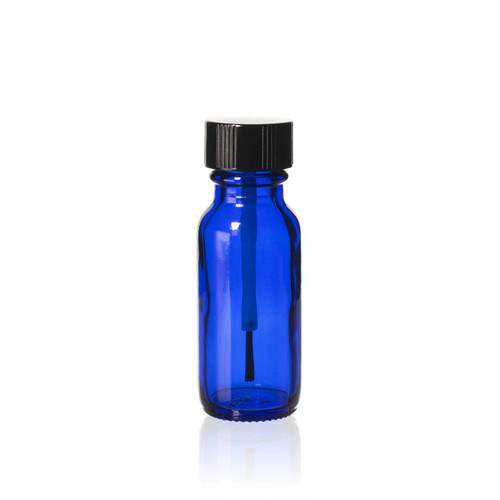 1/2 Ounce Cobalt Blue Boston Round Bottles w/ Brush Cap