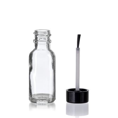 1/2 Ounce Clear Boston Round Bottles w/ Brush Cap
