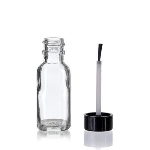 1/2 Ounce Clear Boston Round Bottles w/ Brush Cap