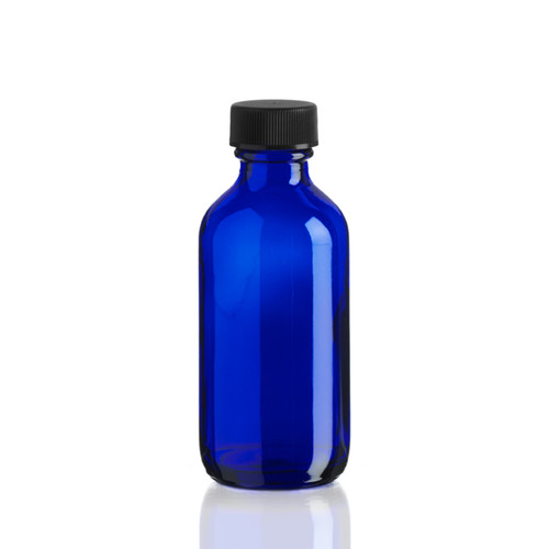 2 Ounce Cobalt Blue Boston Round Bottles w/ Cap