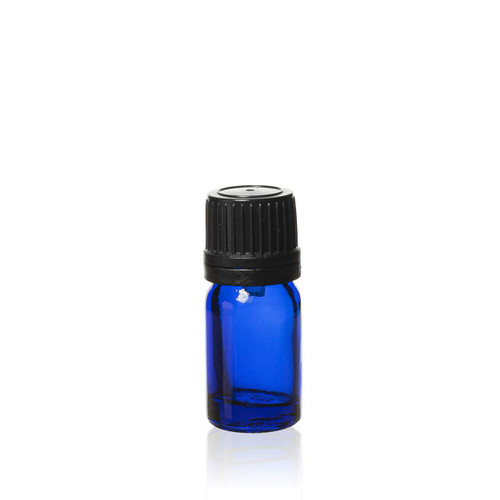 5 ml Cobalt Blue Euro Bottle with Black TE Cap