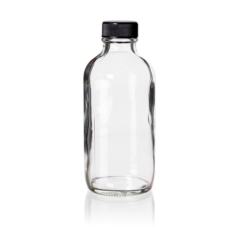 4 Ounce Clear Boston Round Bottles - Caps Included