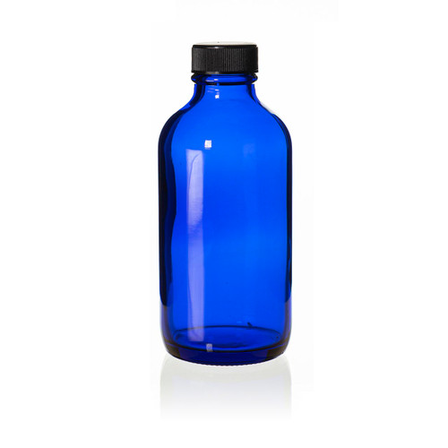 4 Ounce Cobalt Blue Boston Round Bottle - Includes Cap!