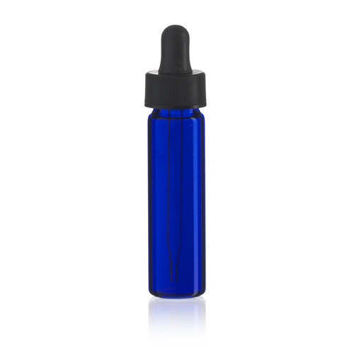 2 Dram Cobalt Blue Glass Vial - 17 x 60 mm - Includes Dropper!