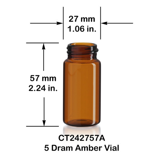 5 Dram Amber Glass Vial - 27 x 57 mm